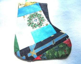 Christmas stocking decoration or gift card holder,wreath with heart, done in craqy quilt style, 2 3/4 wide at the top and 5 inches in length