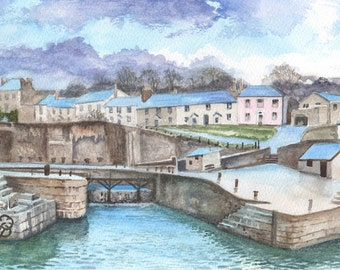 Charlestown, ORIGINAL watercolor painting, FREE shipping