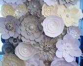 DIY Paper Flower Backdrop (Ivory, Grey, White) | Paper Flowers | Paper Flower Wall | Paper Flower Wedding | Photo Backdrop | Wedding Decor