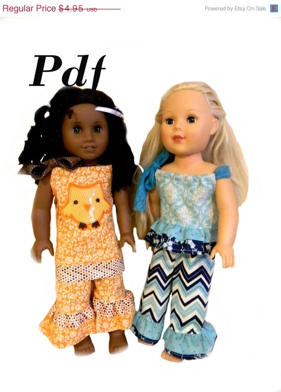 75% OFF Flash Sale Too Cute PDF Sewing Pattern for American Girl Doll Clothes- Pillowcase Dress, Ruffle Top, Wide Leg Ruffle Pants