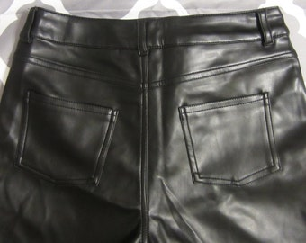 Vintage Matte PVC, Plastic Black Pants Size Extra Small, Juniors Rocker Clothing, Goth, Heavy Metal, High Waisted Pleather Jeans