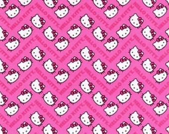 Sanrio - Hello Kitty Chevron Pink Cotton Fabric