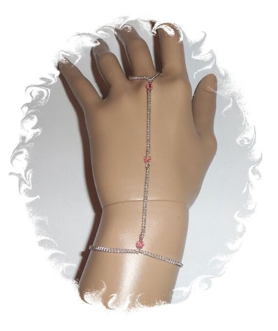 Pink sterling silver Swarovski crystal finger bracelet hand jewelry