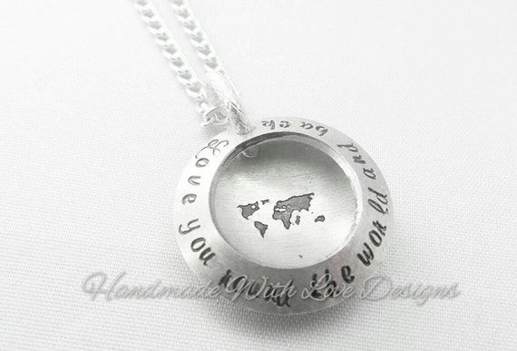 Love you round the world clamshell Hand stamped necklace