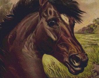 Vintage Horse PDF Cross Stitch Pattern