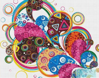 Colourful Shapes PDF Cross Stitch Pattern