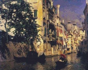 A Canal in Venice PDF Cross Stitch Pattern