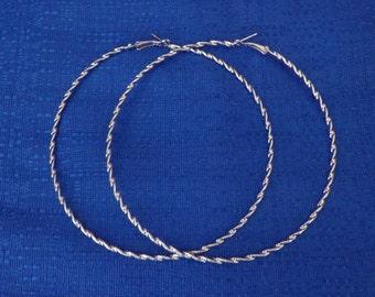 Vintage Silver Rope Hoop Earrings Big Hoop Earrings Extra Large Hoop Earrings