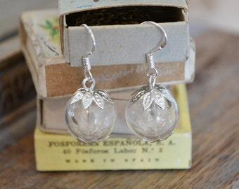 Make a Wish: Sterling Silver Real Dandelion Seed Glass Orb / Globe Earrings - Childhood Memories Bridesmaid gifts Wedding Jewellery