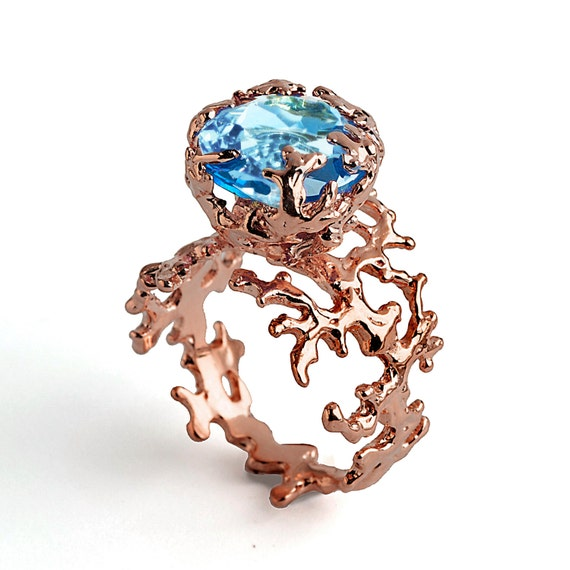 CORAL Blue Topaz Engagement Ring Rose Gold Blue By