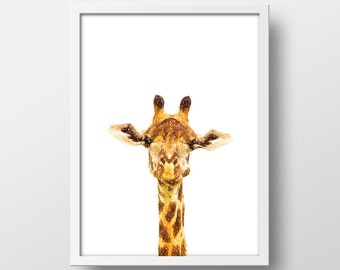 Cute Giraffe Sketch Art Print - Giraffe Nursery Art - Giraffe Print - Wall Art - 8x10 in - Instant Download - Printable Art - Giraffe Sketch