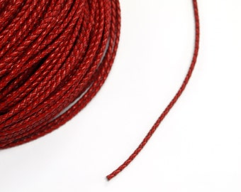 1 Metre x 3mm Red Braided Leather Cord