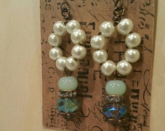 Vintage Style Dangle Earrings with pearls, crystals, and vintage crystal spacer.