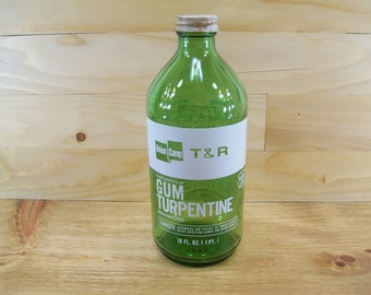 Vintage Green Glass Bottle Union Camp Gum Turpentine Advertising Glass