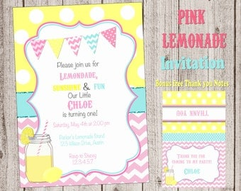 Lemonade invitation Lemonade party Lemonade birthday party pink lemonade