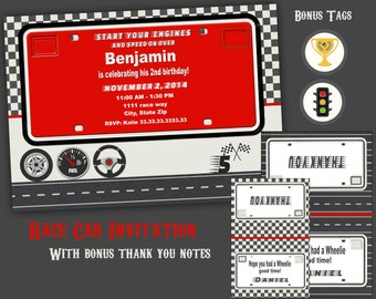 Car invitation, License plate invitation,  race car invitation, car birthday invitation, printable  boys invitation