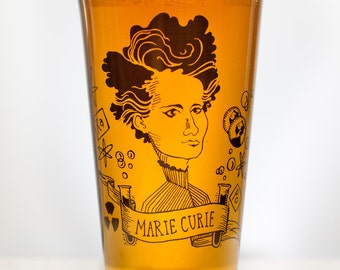 Marie Curie Beer Glass   Chemistry Pint Glass, Women in Science, Women in STEM, Teacher Gifts, Scientist, Physics Teacher Gift Birthday Gift