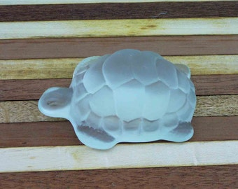Vintage Glass Turtle Frosted Paperweight Mid Century Eclectic Ocean Desktop Sea Turtle Home and Living Home Decor