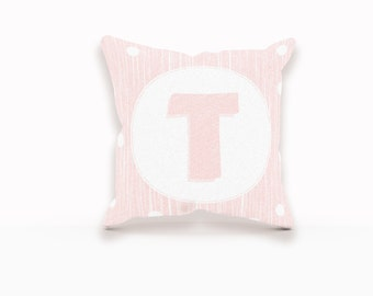 Pink Monogram Pillow, Monogram Nursery Pillow, Girl Nursery Decor, Girl Nursery Pillow, Pink Pillow Cover, Monogrammed Gifts for Girls