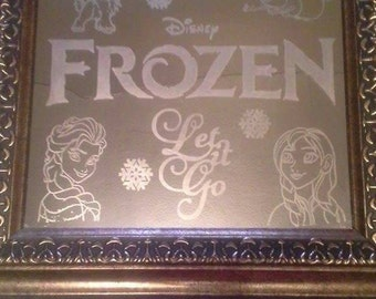 Disney frozen inspired custom etched mirror!! Unique and beautiful!