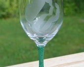 Girl Scouts Wine Glass with etching and glitter
