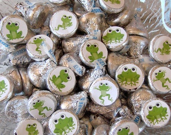 Frog Party, Candy Stickers - Chocolate Kisses, Candy Labels - Frog Birthday, Party Favors, Printed