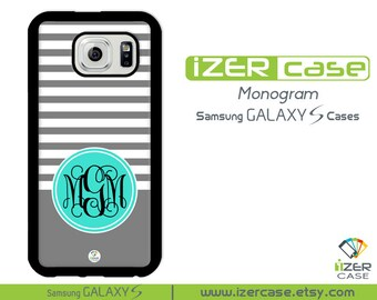 Personalized Monogrammed Samsung Galaxy S6 Case, Galaxy S5 Case, Galaxy S4 Case, Galaxy S3 Case. Gray Stripes