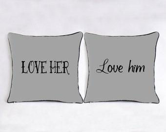 love her love him pillowcase-grey throw pillow set-his hers couple cushion cover & long distance love pillow case custom long distance boyfriend pillowsntoast.com