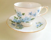 Queen Anne Tea Cup and Saucer, Tea Set, Blue Flowers Cup, English Bone China Tea Cups, Teacup and Saucer, Antique Tea Cups, Mid Century Cup