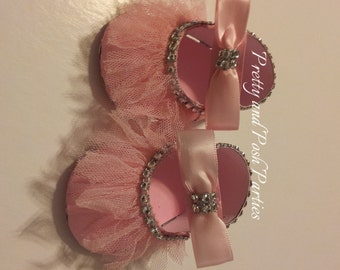 10 Adorable Pink  or Lavender Tulle Baby Shoe Favor Boxes