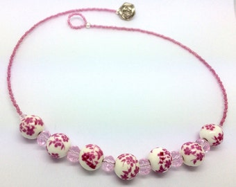 UNIQUE Handmade CERAMIC and CRYSTAL Necklace with Pink Flowers