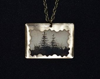 Dawn Tree Silhouette Pendant