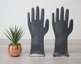 Vintage Grey Plastic Industrial Glove Mold / Hand Jewelry Display / Necklace, Bracelet and Watch Holder /  Wall Shelf