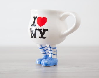 Vintage Collectible New York Souvenir City Mug / I love NY Heart Design Standing Coffee Mug with Blue Strip Legs and and Blue Shoes