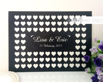 Personalized Chalkboard Guestbook, Wedding Hearts Guest Book Alternative, Custom Wedding Signature Guest Book - Any Number / Size / Color