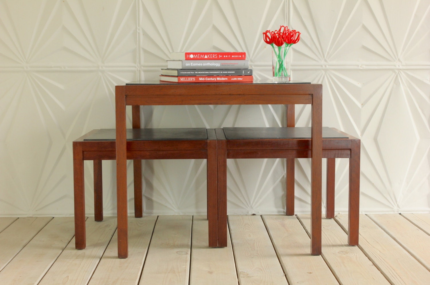 Nesting Side Table Set Of 3 Walnut Black Quartz By RetroSpecList. Full resolution  photograph, nominally Width 1500 Height 995 pixels, photograph with #B0231B.