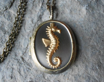"LOCKET--Stunning Seahorse Bronze Pendant Locket -  2"" long--- Vintage Look - Antiqued Look -  Great Quality"