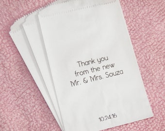 50 Wedding Favor Bags, Thank You from the New Mr. & Mrs., Personalized, Glassine Favor Bags, Paper Favor Bags, Candy Buffet Bag, Anniversary