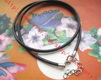 Wholesale 50pcs 18 inch 3mm Black real leather cord necklace with lobster clasps plus 2 inch extender