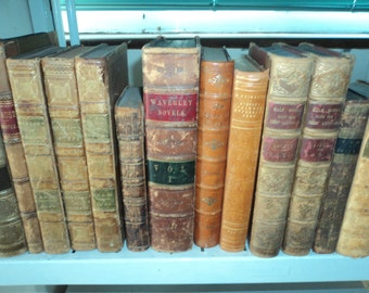 Set Of 25 Vintage Leather Bound Books.  Mixed colours.