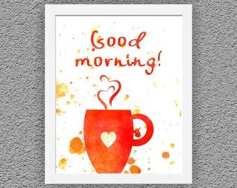 Kitchen Art Typographic Print, Kitchen Wall Decor,Good Morning Art,  Kitchen Wall Art, Kitchen Poster Print, Wall Art Kitchen