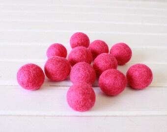Hot Pink Felt Balls 12 count