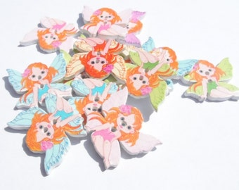 10 Wooden buttons shaped Fairy/ Elf / Faerie in mixed colors 30x25mm