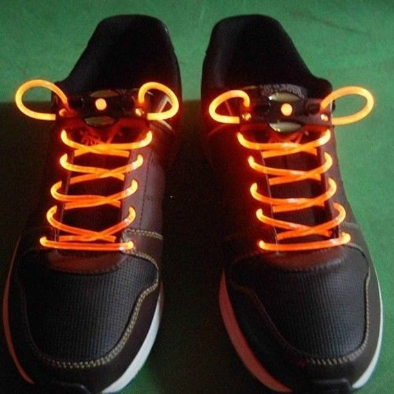 Orange Light Up Shoe Laces With 2032 Lithium Battery Glow
