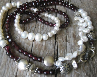 Hand made Garnet and Fresh Water Pearls  Necklace