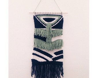 Bold black, white, and green weaving