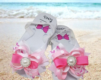Charlotte Boutique Bow on Flip Flops with Rhinestone Center Flower