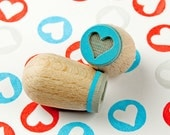 Heart cyan mini stamp (dark) - Ø 1,4 cm