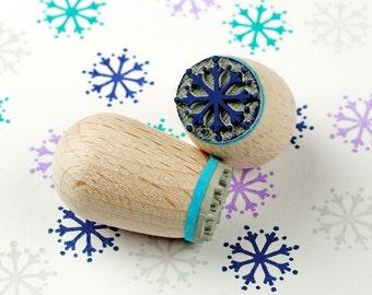 Snowflake ice blue - mini stamp Ø 1,4 cm