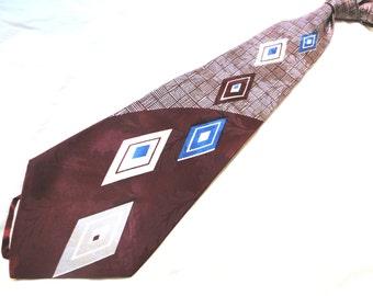 "Vintage Deco 40's Hollywood Movie Necktie ""Floating Diamond"" Motif..."